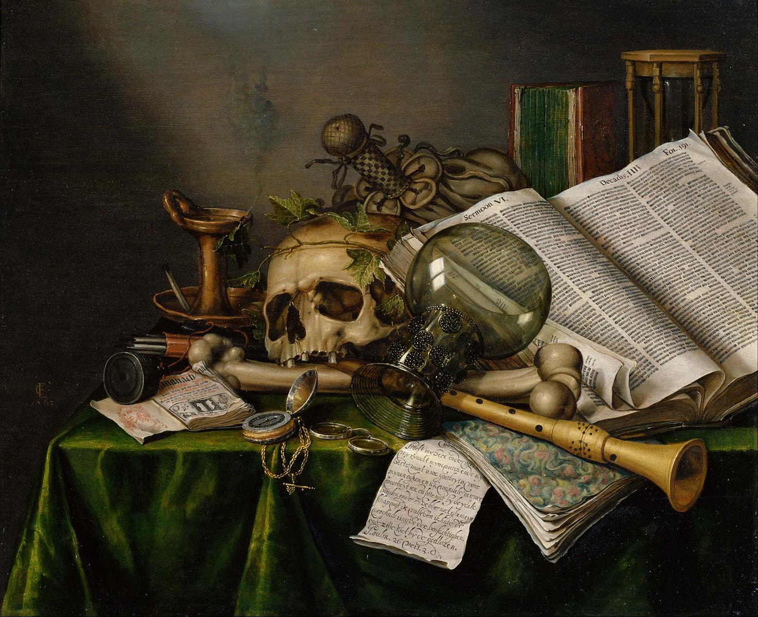 Le tableau Vanitas, nature morte de Evert Collier (1663) dépeint une montre aux côtés d'autres symboles du temps qui s'écoule