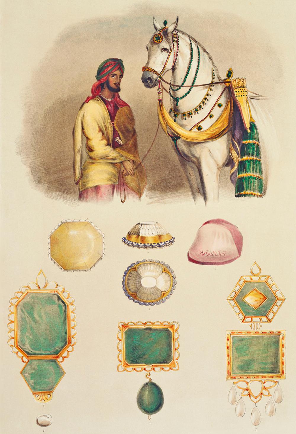 Le maharaja du Pendjab, Ranit Singh et ses joyaux. Le Koh-I-Noor se trouve au centre| Crédits photo : Eden, Emily / Public domain