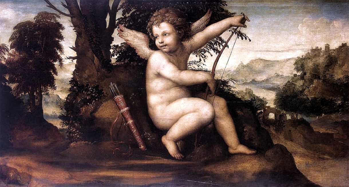 Le dieu romain de l'amour, Cupidon, peinture de Le Sodoma