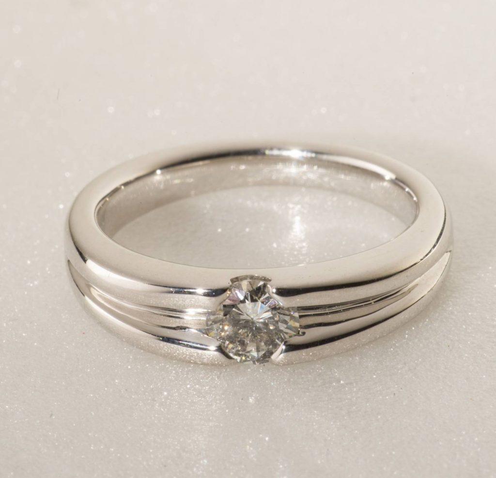 solitaire diamant or blanc