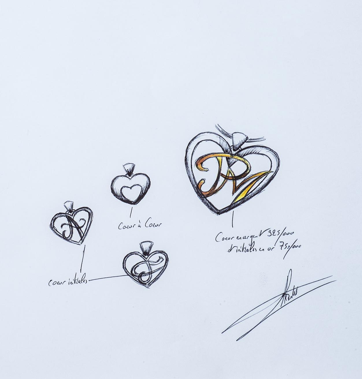 Une création originale Bianchi commandée pour la St-Valentin - Esquisse